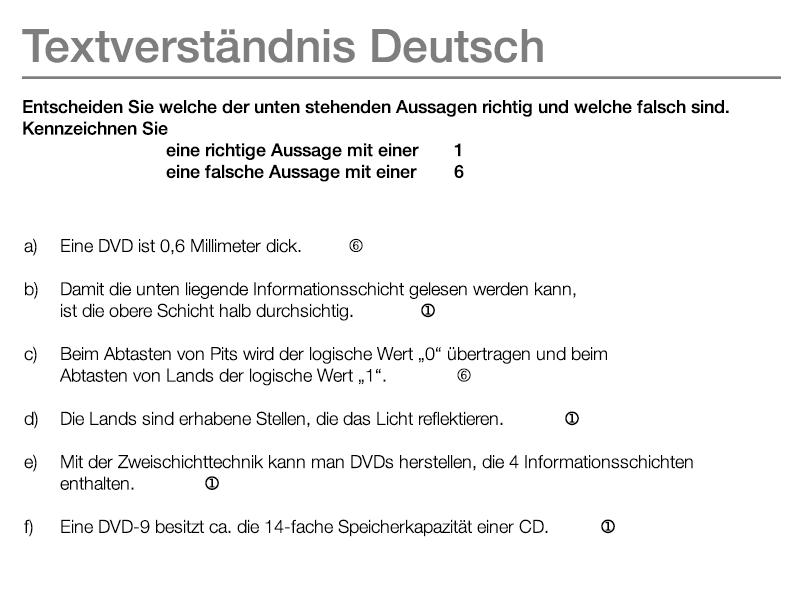 Beispielaufgabe Textverständnis Deutsch Antwort Eignungstests Ausbildung