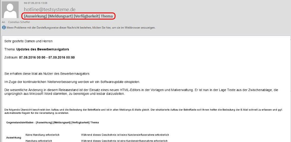 Benachrichtigungssystem E-Mail opta
