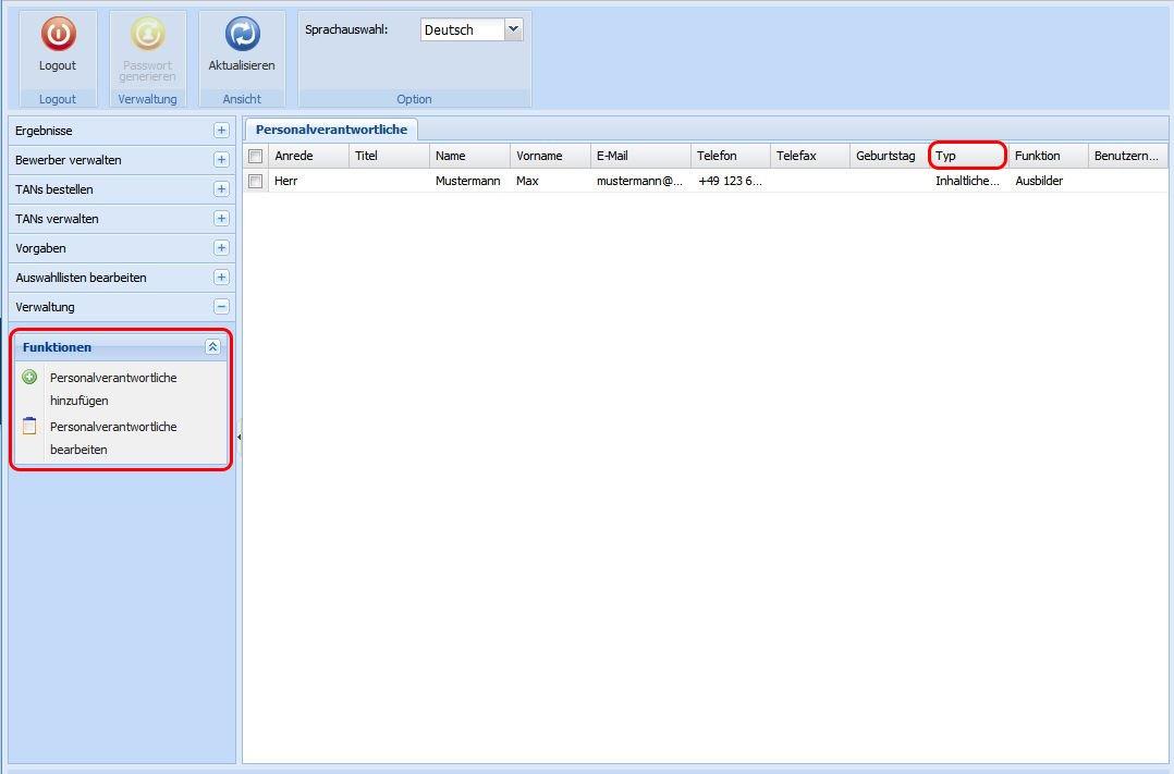 Benachrichtigungssystem Screenshot Opta Personalverantwortliche hinzufügen