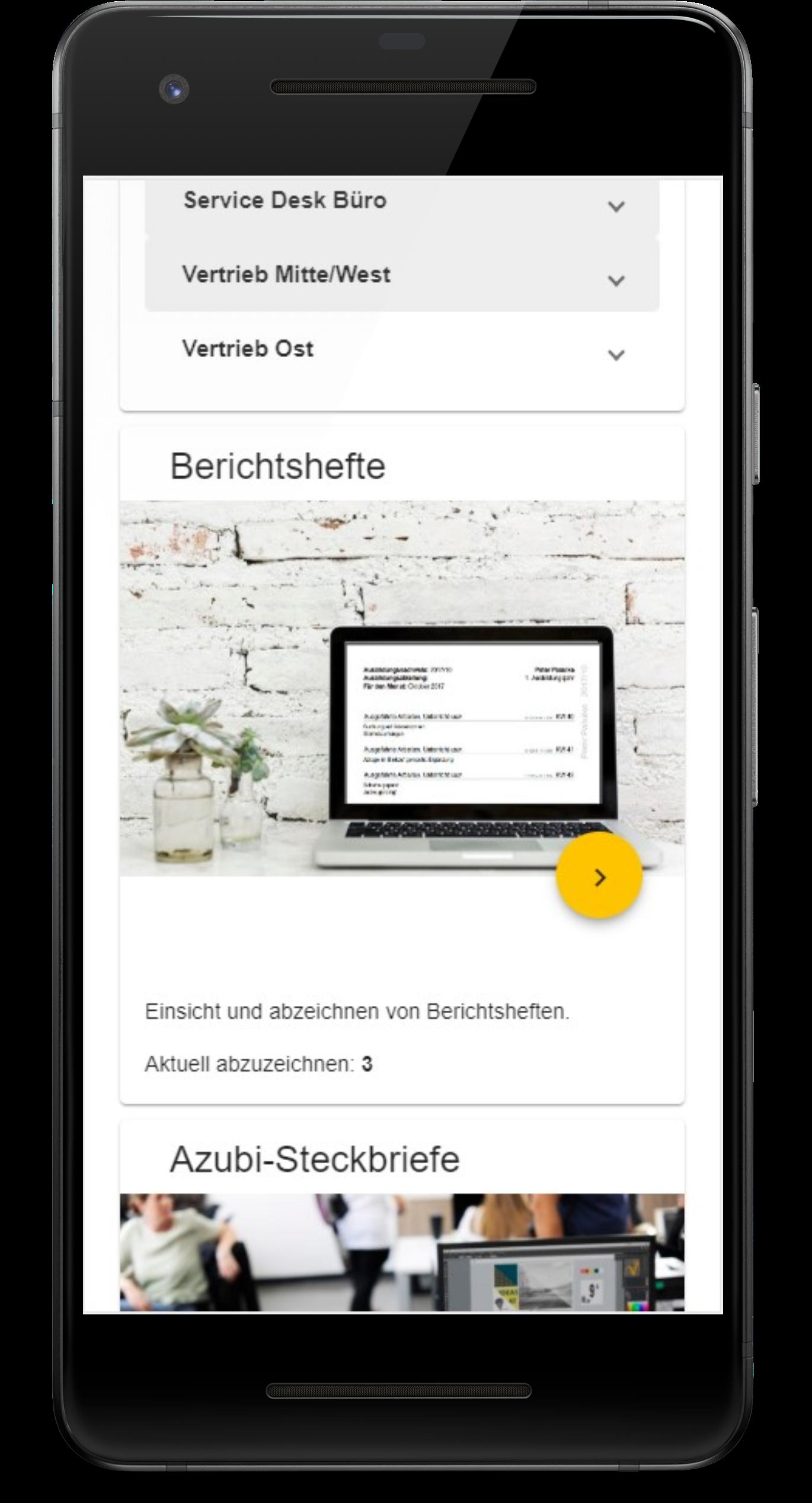 Infoportal des Azubi-Navigators in der mobilen Ansicht