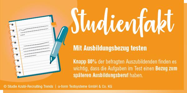 Knapp 80 % der befragten Auszubildenden finden es wichtig, dass die Aufgaben im Test einen Bezug zum späteren Ausbildungsberuf haben.