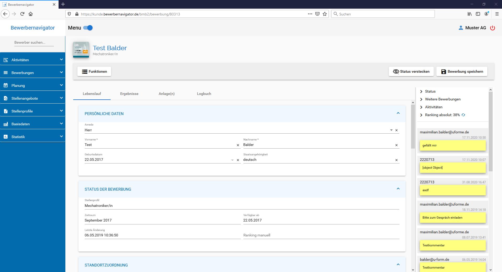 u-form Bewerbernavigator - Screenshot 3